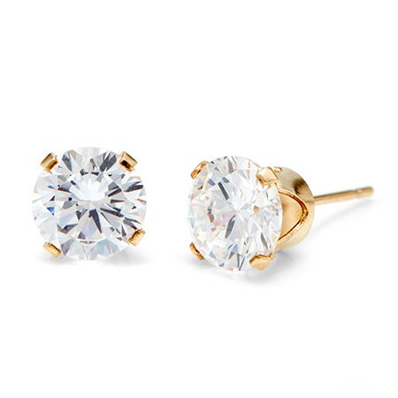 14K Gold Filled Round Diamond CZ 8mm Stud Earring | Eve's Addiction®