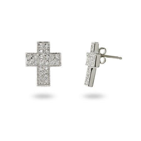 Sterling Silver and Pave CZ Cross Stud Earrings | Eve's Addiction®
