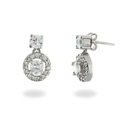 Vintage Style CZ Circle Drop Earrings | Eve's Addiction®