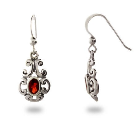 Garnet CZ Dangle Bali Style Earrings | Eve's Addiction®