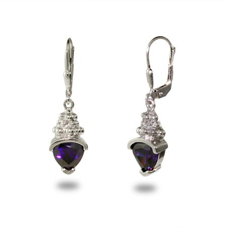 Designer Inspired Triangle Drop Amethyst CZ Earrings | Eve's Addiction®