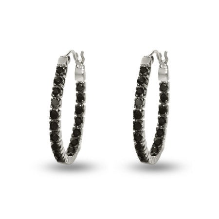 Petite Black Cz Inside Out Oval Hoop Earrings | Eve's Addiction®