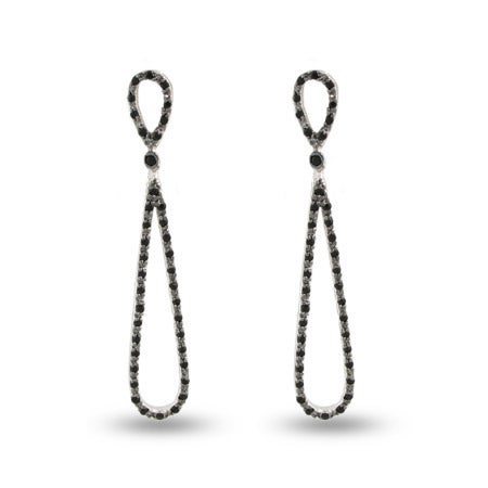 Hollywood Black Onyx CZ Glamour Teardrop Earrings | Eve's Addiction®
