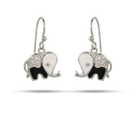 Black and White CZ Elephant Dangle Earrings | Eve's Addiction®