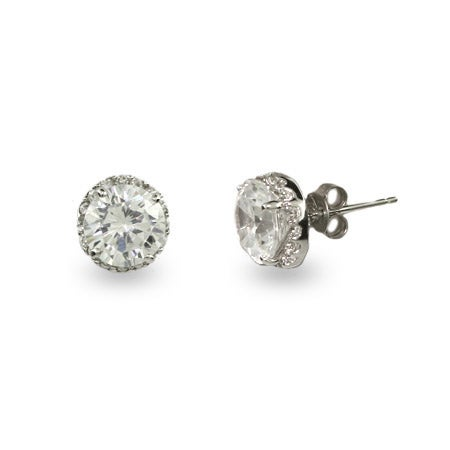 Stunning Round Brilliant Cut CZ Studs | Eve's Addiction®