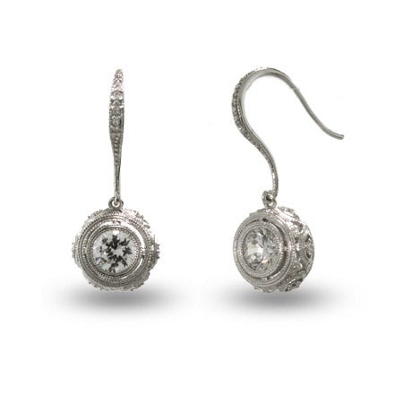 Victorian Style Crown Set Sterling Silver Bezel CZ Drop Earrings | Eve's Addiction®