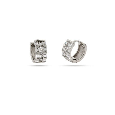 Baguette CZ Sterling Silver Huggie Earrings | Eve's Addiction®