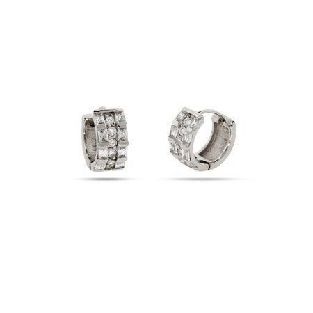 Baguette CZ Sterling Silver Huggie Earrings | Eve's Addiction®