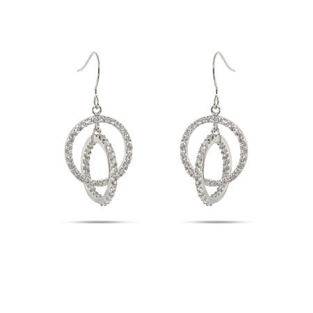 Sterling Silver Inside Out Interlocking CZ Hoop Earrings | Eve's Addiction®