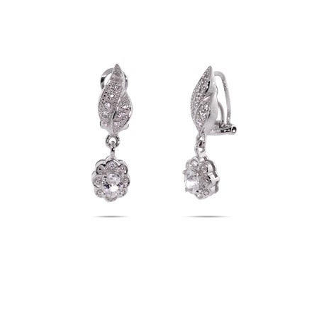 CZ Leaf and Flower Dangle Clip-On Earrings | Eve's Addiction