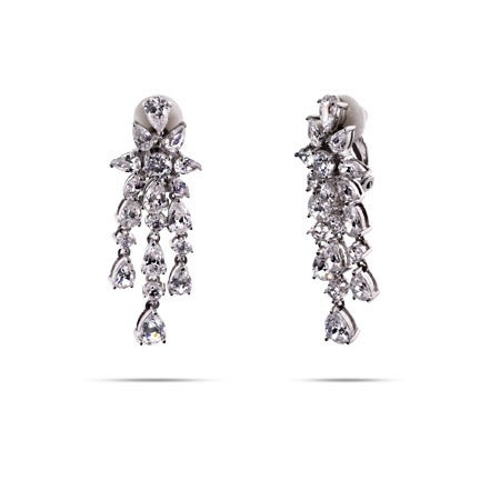 Elegant Sterling Silver CZ Chandelier Clip-On Earrings | Eve's Addiction®