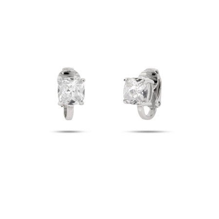 Sparkling Cushion Cut Diamond CZ Clip On Earrings | Eve's Addiction®