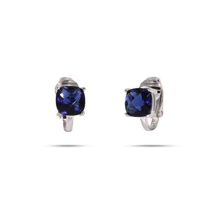 Cushion Cut Sapphire CZ Clip-On Earrings | Eve's Addiction®