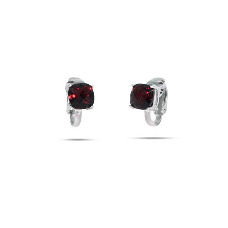 Sparkling Cushion Cut Ruby CZ Clip-On Earrings | Eve's Addiction®