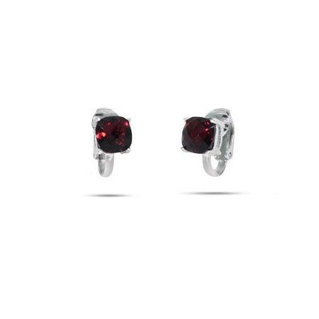 Sparkling Cushion Cut Ruby CZ Clip-On Earrings | Eve's Addiction®