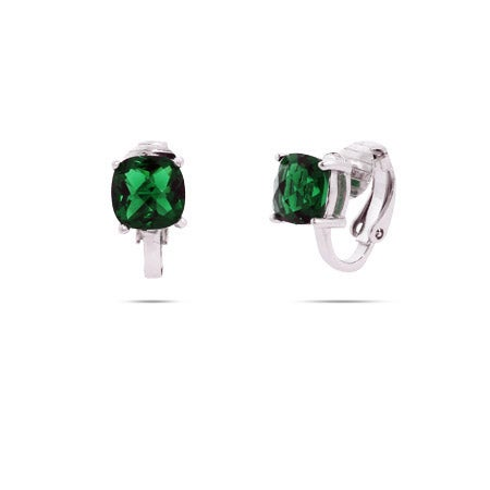 Sparkling Cushion Cut Emerald CZ Clip-On Earrings | Eve's Addiction®