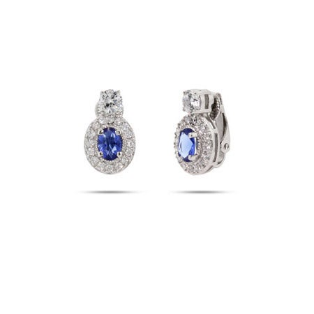 Sapphire CZ Oval Drop Clip-On Earrings | Eve's Addiction®