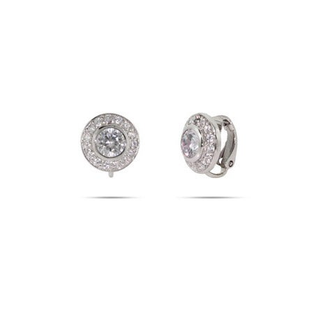 Brilliant Cut CZ Sterling Silver Clip-On Earrings | Eve's Addiction®