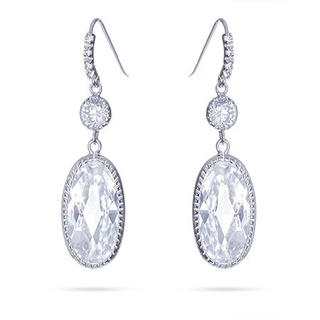 Dangling Oval CZ Earrings | Eve's Addiction®