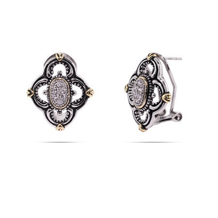 Designer Inspired Vintage Style Four Point CZ Earrings | Eve's Addiction®