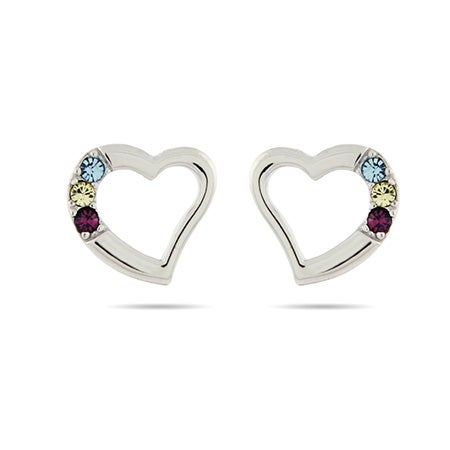 3 Stone Austrian Crystal Birthstone Heart Studs in Sterling Silver | Eve's Addiction®