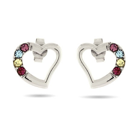 4 Stone Sterling Silver Austrian Crystal Birthstone Heart Studs | Eve's Addiction®