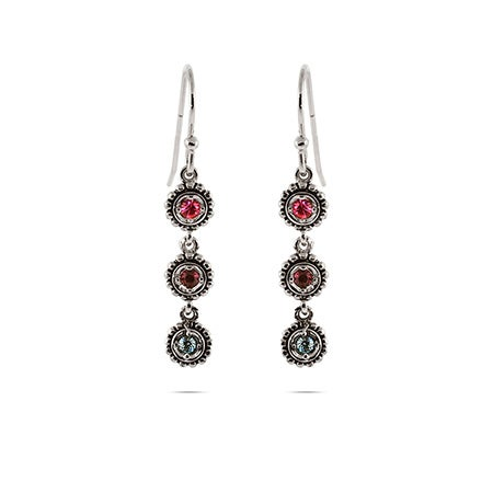 Custom 3 Birthstone Sterling Silver Dangle Earrings | Eve's Addiction®