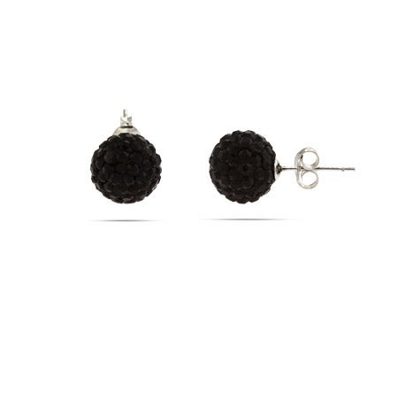 Pave Black Crystal Sterling Silver Ball Studs | Eve's Addiction®
