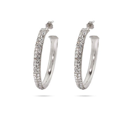 "Swarovski Crystal 1.25"" Sterling Silver Hoops 