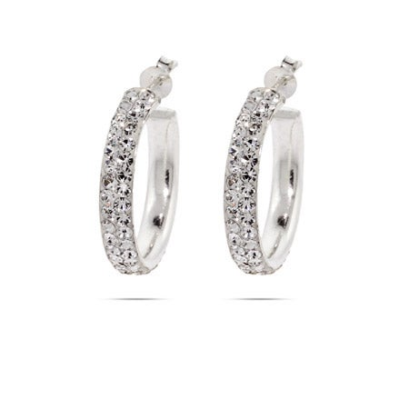 "Sparkling Swarovski Crystal 1"" Sterling Silver Hoops 