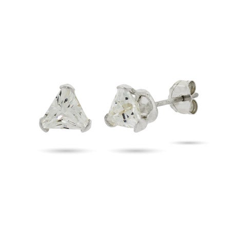 Triangle Shape Sterling Silver CZ Studs | Eve's Addiction®
