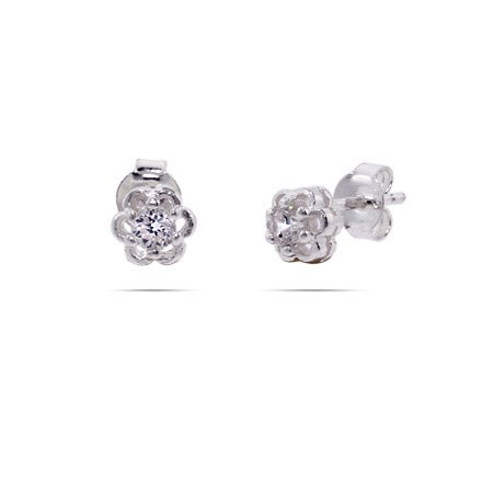 Petite Sterling Silver CZ Flower Stud Earrings | Eve's Addiction®