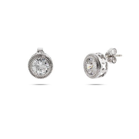 Sterling Silver Bezel set CZ Studs with Milgrain Edging | Eve's Addiction®