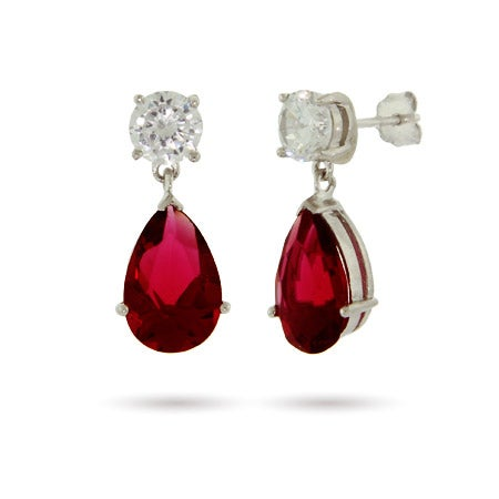 Sterling Silver Ruby CZ Peardrop Earrings | Eve's Addiction®