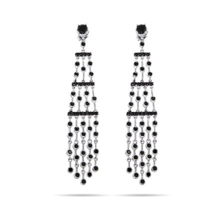 Five Strand Silver and Black CZ Chandelier Earrings | Eve's Addiction®