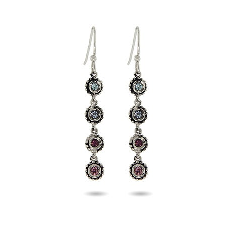 4 Stone Custom Birthstone Dangle Earrings | Eve's Addiction®