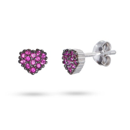 Sterling Silver Pink CZ Raspberry Heart Stud Earrings | Eve's Addiction