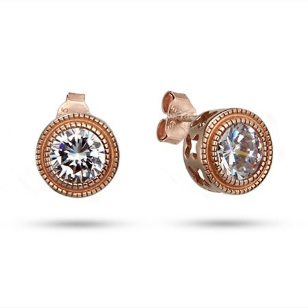 Rose Gold Bezel Set CZ Studs with Milgrain Edging | Eve's Addiction®