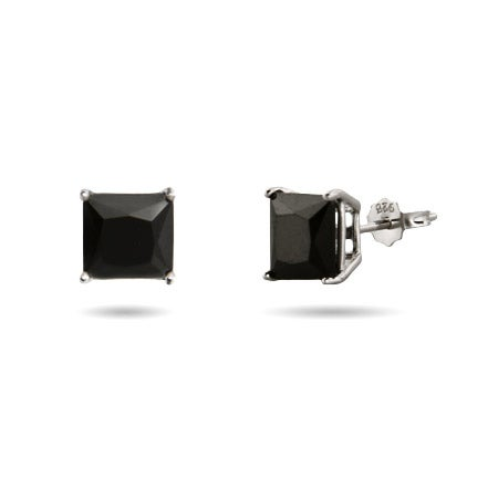 Princess Cut 7mm Black CZ Studs in Sterling Silver | Eve's Addiction®