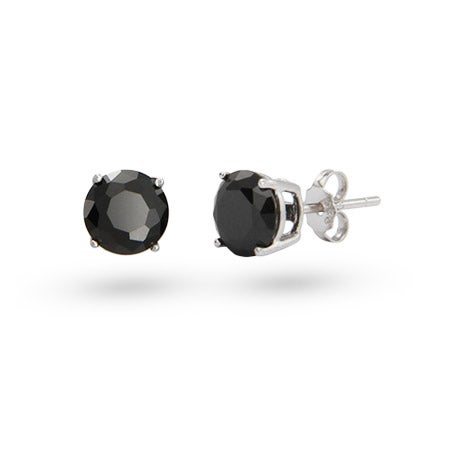 Sterling Silver 7mm Round Black CZ Studs | Eve's Addiction®