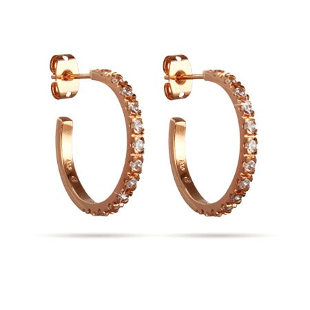 "Beautiful Rose Gold CZ 3/4"" Hoop Earrings 