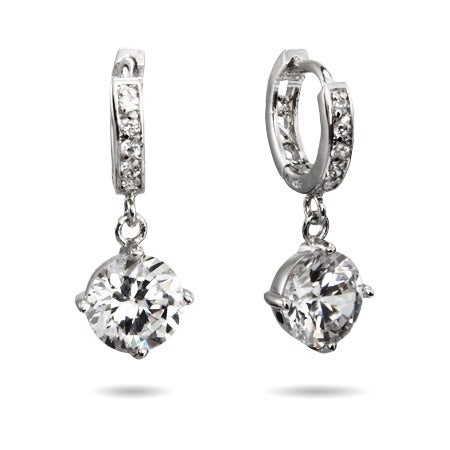 Dangling Brilliant Cut CZ Huggie Earrings | Eve's Addiction®