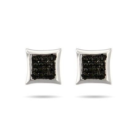 Sparkling Micropave Black CZ Square Stud Earrings | Eve's Addiction®