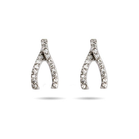 Sterling Silver Pave Wishbone Stud Earrings | Eve's Addiction®