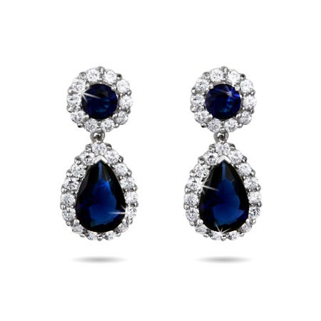 Sparkling Sapphire CZ Peardrop Silver Earrings | Eve's Addiction®