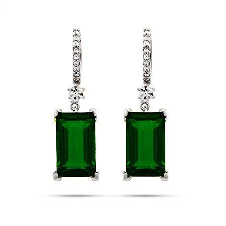 Dazzling Emerald Green Emerald Cut Sterling Silver Dangle Earrings | Eve's Addiction®