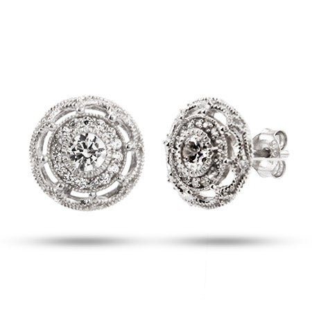 Vintage Flower Design CZ Stud Earrings | Eve's Addiction®