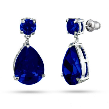 Sapphire Peardrop CZ Earrings | Eve's Addiction®