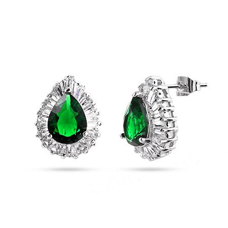 Pearcut CZ Emerald Green Cocktail Earrings | Eve's Addiction®