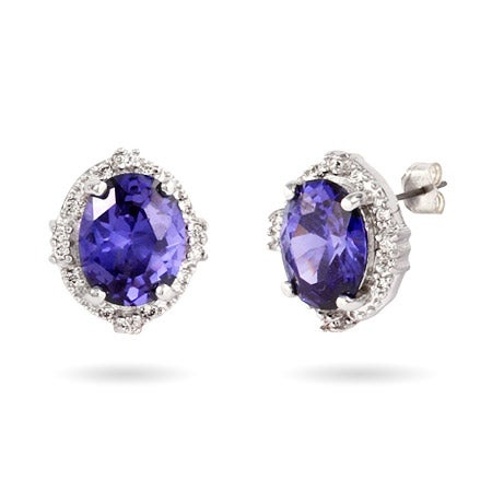 Sterling Silver Crown Set CZ Tanzanite Stud Earrings | Eve's Addiction®